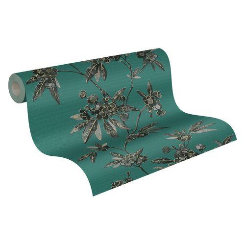 Tapete Vlies Ranken Floral grün schwarz Metallic 37472-2
