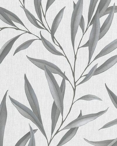 Tapete Vlies Floral Blätter grau-weiß silber 32201