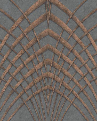 Non-Woven Wallpaper Art Deco grey copper 32256