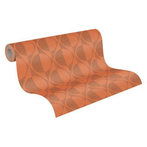 Tapete Vlies orange schwarz Kreise 37478-4 | 374784