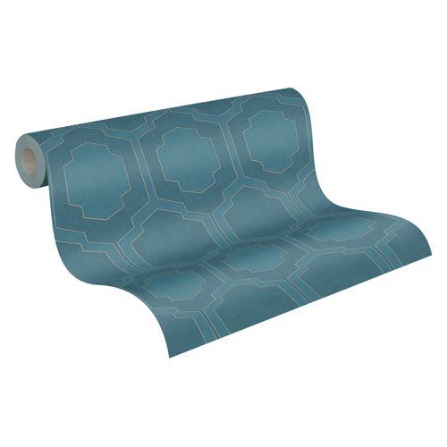 Tapete Vlies blau silber Fliesen 37479-4 | 374794
