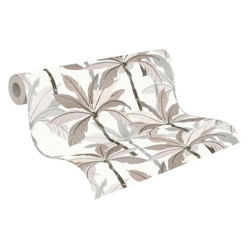Tapete Vlies Blätter Palmen weiß beige grau 37530-5 online kaufen