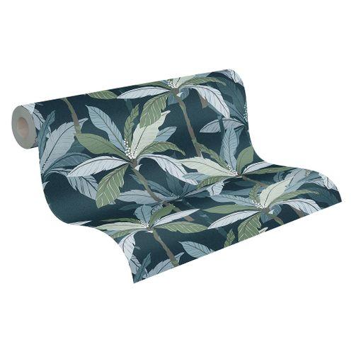 Tapete Vlies Blätter Palmen grün grau braun 37530-6