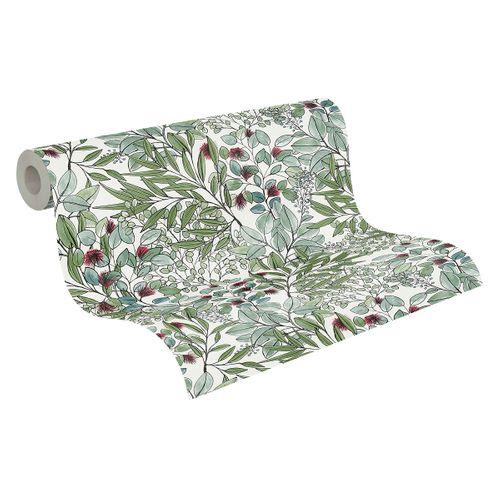 Tapete Vlies Blätter-Muster weiß grün rot 37534-1 online kaufen