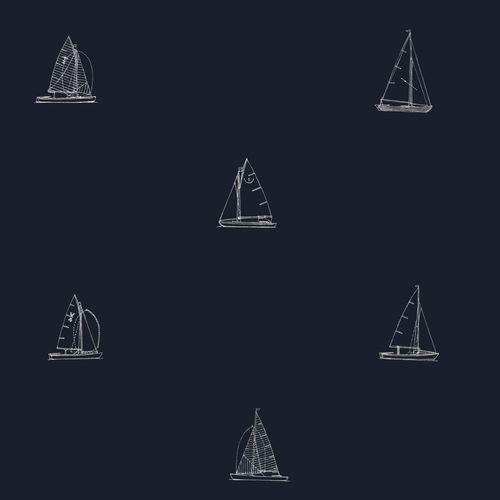 Tapete Vlies dunkelblau weiß Maritim 072046