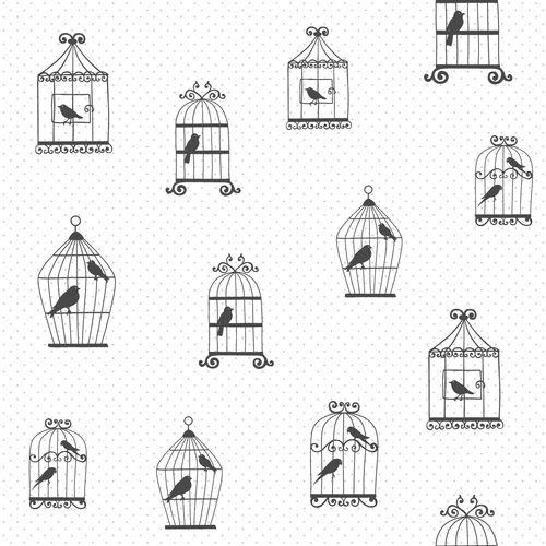Tapete Vlies weiß schwarz silber Vogelkäfig 072114