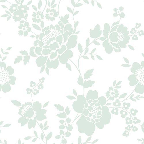 Tapete Vlies weiß grün Blüten 072055