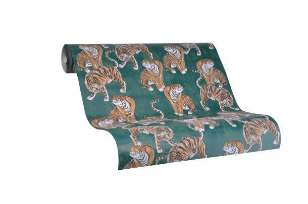Tapete Vlies Marburg Tiger grün braun metallic 84872