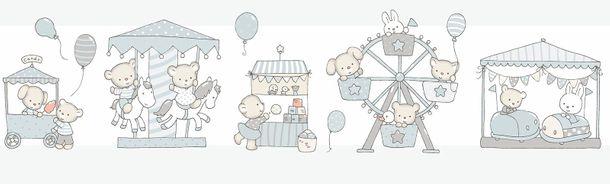 Selbstklebend Kinderborte Bär Hase weiß grau 102403