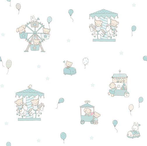 Selbstklebend Kinderborte Bär Hase weiß 102204
