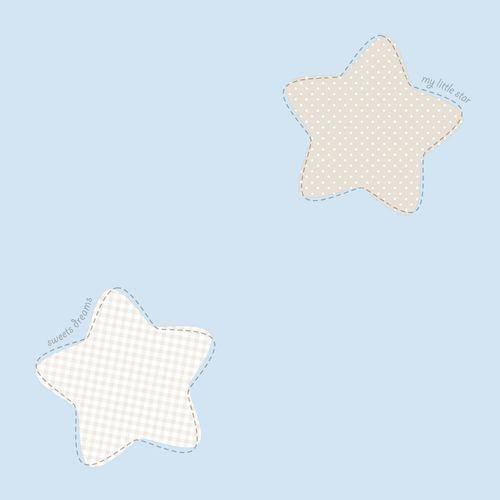 Kindertapete Papier Sterne groß blau weiß grau 202241