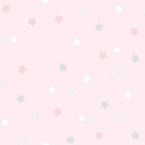 Kindertapete Papier Sterne rosa weiß grau 102252 online kaufen
