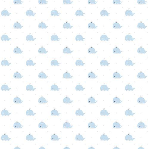 Kindertapete Papier Wale weiß blau 102231