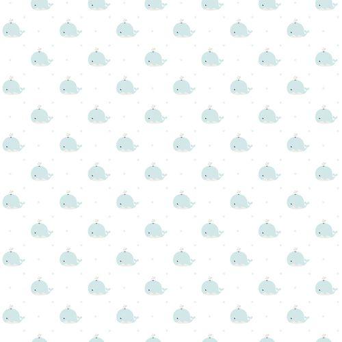 Kindertapete Papier Wale weiß hellgrün 102232