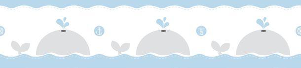 Selbstklebend Kinderborte Wale weiß blau grau 102431