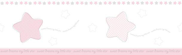 Selbstklebend Kinderborte Sterne weiß rosa grau 102442