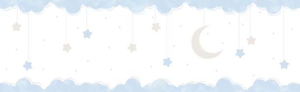 Selbstklebend Kinderborte Mond Halb blau weiß 102411 online kaufen