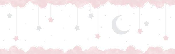 Selbstklebend Kinderborte Mond Halb rosa weiß 102412