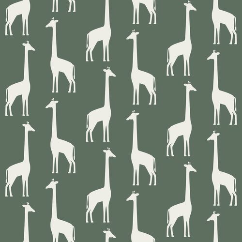 Tapete Vlies Kinderzimmer 139060 Giraffen dunkelgrün weiß online kaufen