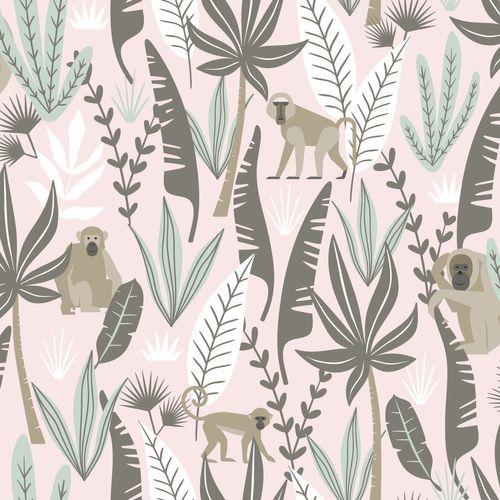 Tapete Vlies Kinderzimmer 139072 Dschungel rosa grün online kaufen