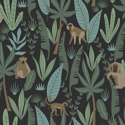 Tapete Vlies Kinderzimmer 039074 Dschungel schwarz grün online kaufen