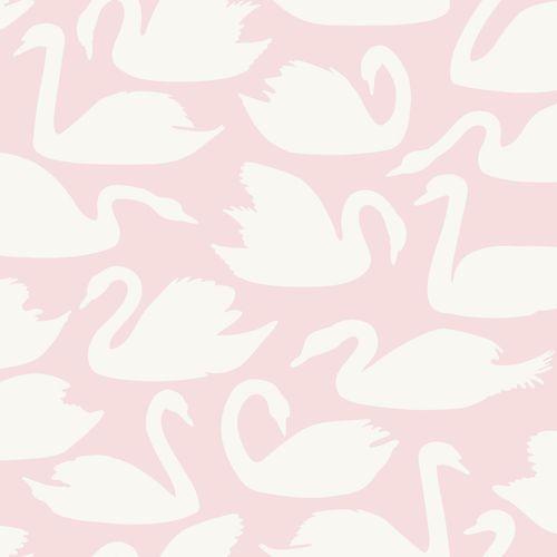 Kindertapete Vlies 047708 Schwäne rosa weiß Glanz
