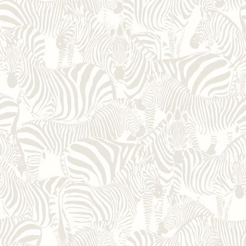 Kindertapete Vlies 346836 Zebra silber weiß Glanz