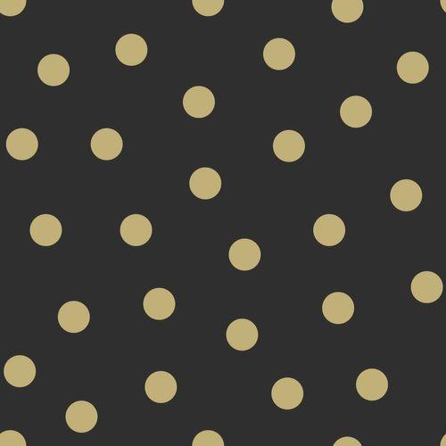 Kindertapete Vlies 347676 Punkte schwarz gold Glanz