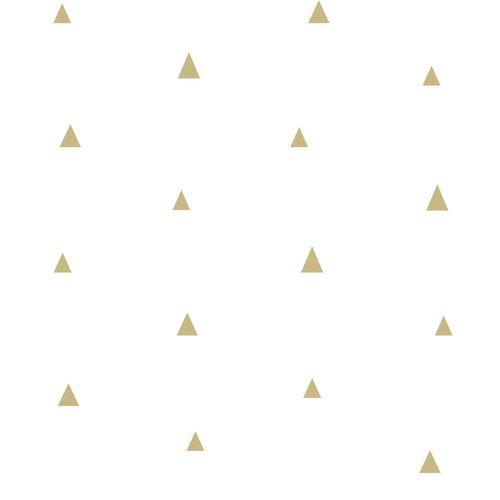 Kindertapete Vlies 347680 kleine Dreiecke weiß gold