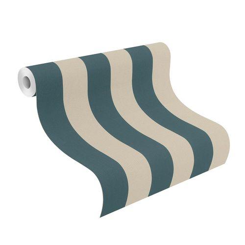 Wallpaper non-woven 542738 stripes petrol sand