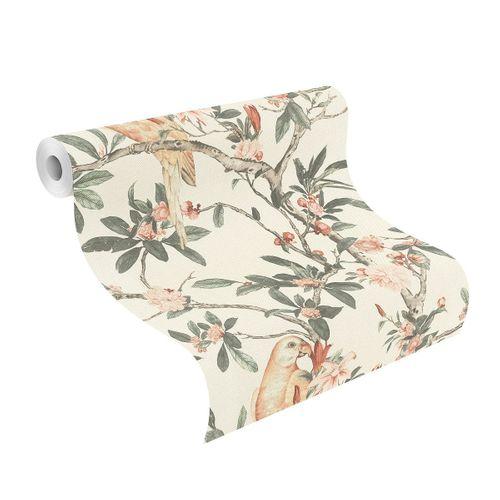 Tapete Vlies 543315 Botanisch weiß rosa grün online kaufen