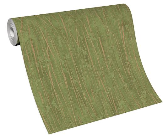 Wallpaper non-woven 10123-07 stripes bamboo green brown