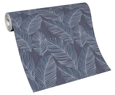 Wallpaper non-woven 10125-08 palm leaves blue white
