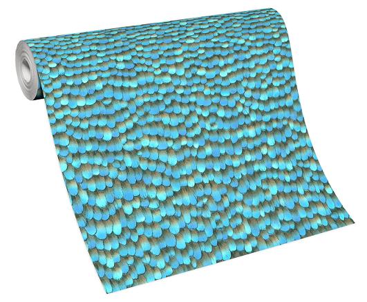 Tapete Vlies 10129-08 Federn 3D blau