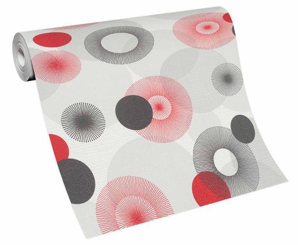 Tapete Vlies Kreise Grafisch weiß grau rot 10116-06