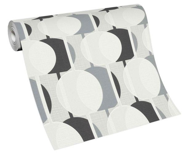 Tapete Vlies Retro Kreise weiß grau schwarz 10118-34