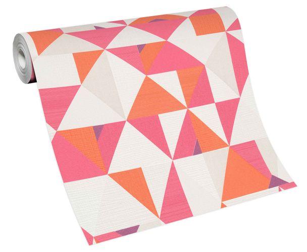 Tapete Vlies Grafisch Dreiecke weiß rosa orange 10119-04