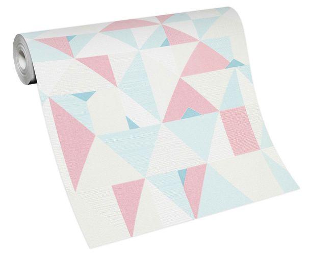 Tapete Vlies Grafisch Dreiecke weiß rosa blau 10119-05