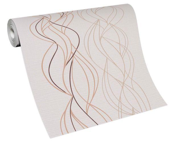 Tapete Vlies Grafik Wellen weiß braun beige 10120-02