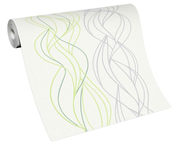 Tapete Vlies Grafik Wellen weiß grau grün 10120-07
