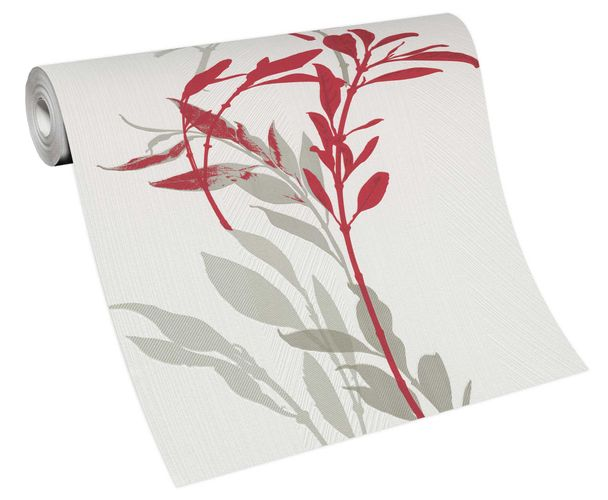 Wallpaper non-woven 10138-06 branch floral white red