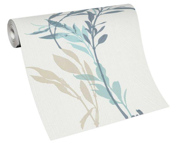 Tapete Vlies 10138-08 Zweige floral weiß beige blau