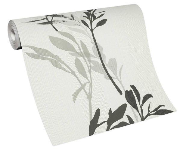 Tapete Vlies 10138-10 Zweige floral weiß schwarz grau