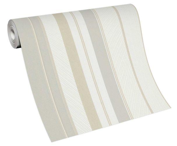 Tapete Vlies 10139-31 Streifen weiß grau beige