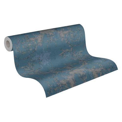 Tapete Vlies Barock blau silber 37648-5