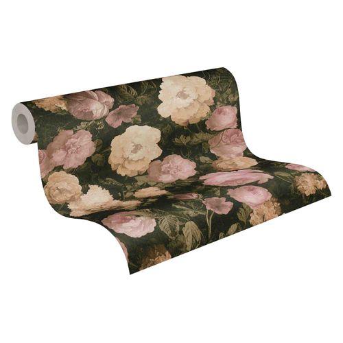Tapete Vlies Blumen floral schwarz grün rosa 37650-1