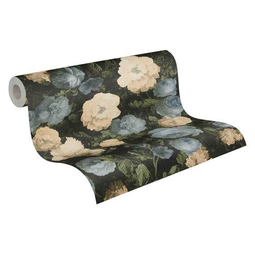 Tapete Vlies Blumen floral schwarz grün blau 37650-2