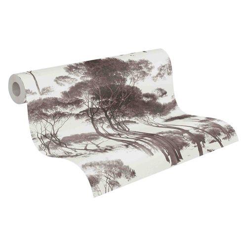 Tapete Vlies Bäume weiß braun 37651-1