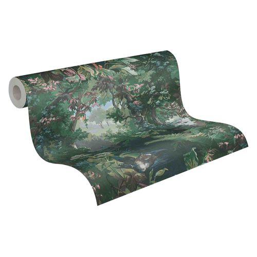 Tapete Vlies Gemälde Wald grün braun rosa blau 37652-1