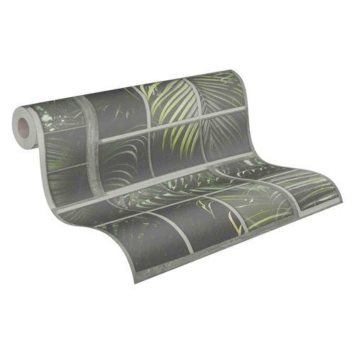 Tapete Vlies 37740-2 Gitter Floral schwarz grau grün